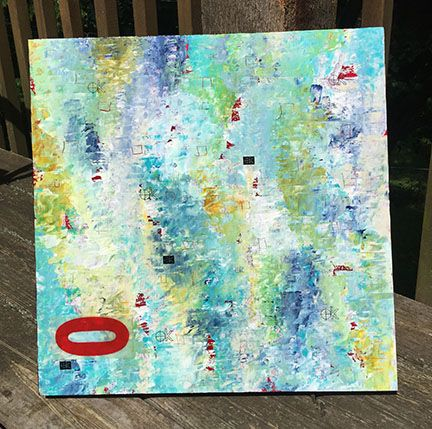 Sharon Spillar | Spillar Studios | Saw at Prairie Village Art Show | Acrylic, ink, chalk, paper, pastels, on wood panel with a UV resistant.  semi- gloss