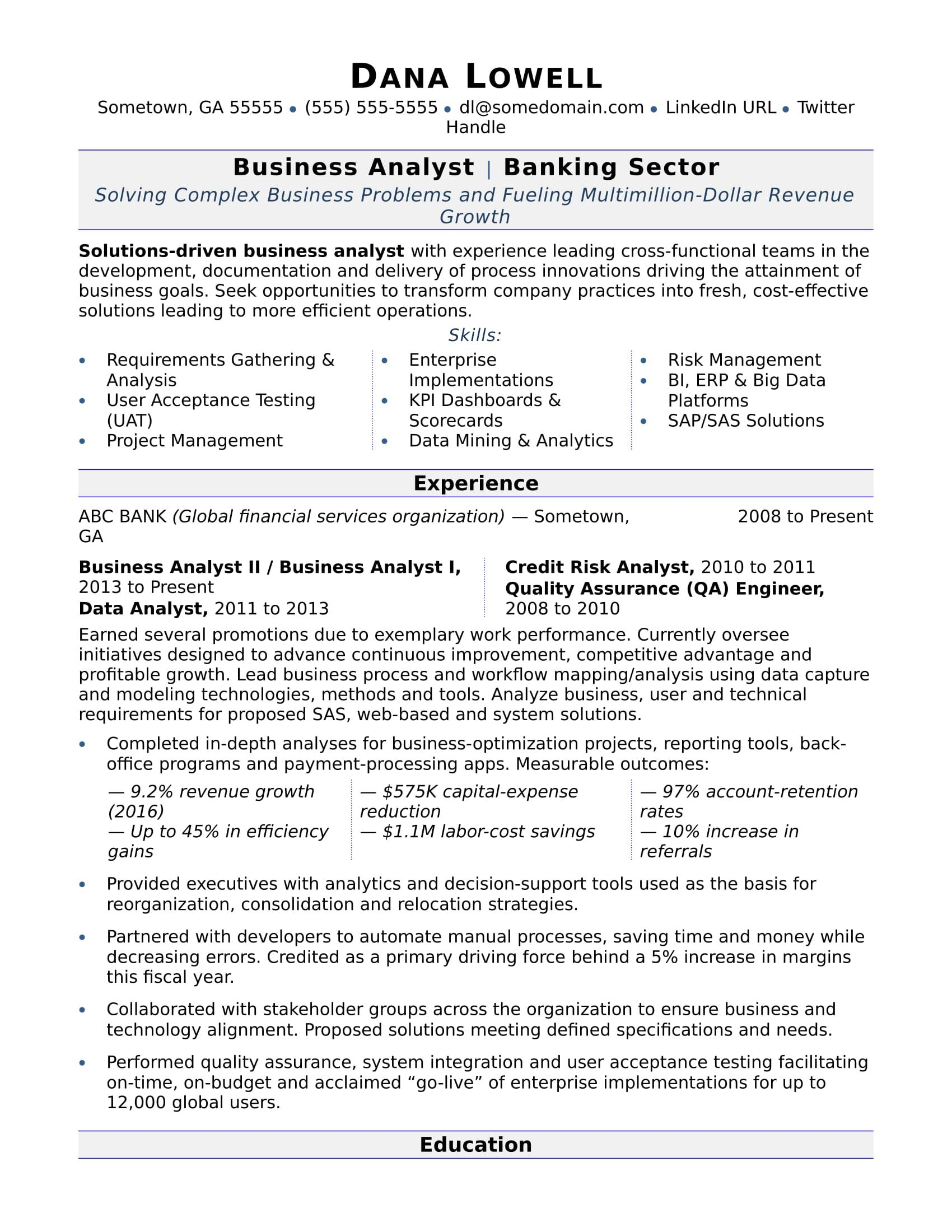 Business Analyst Resume Sample Business Analyst Resume Business Analyst Teacher Resume Examples