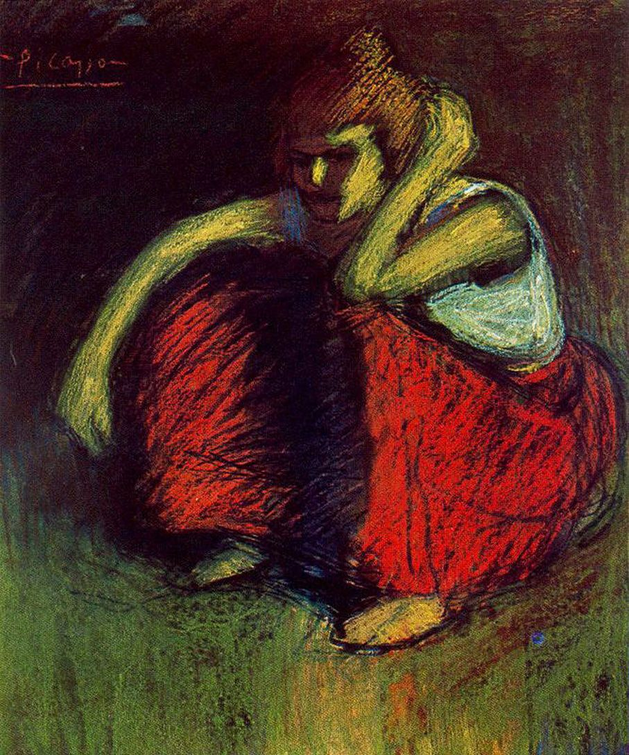 A Red Skirt by Pablo Picasso - 1901 http://www.wikipaintings.org/en/pablo-picasso/pierrot-and-colombina-1900