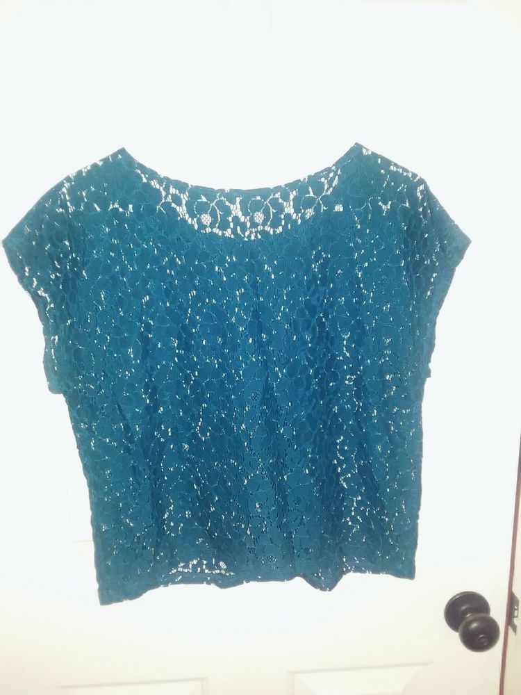 e3fae5dd9f6 LILY WHITE CROPPED COLLAR LACE TOP SIZE L BLUE #fashion #clothing #shoes  #accessories #womensclothing #tops