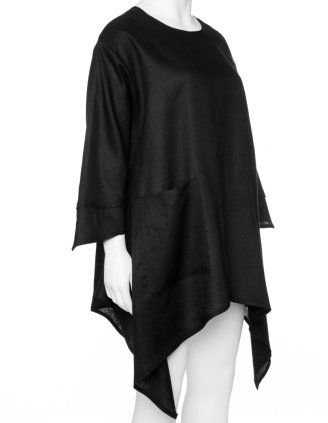 Linen blouse with handkerchief hem in Black designed by Champagne to find in Category Blouses at navabi.de