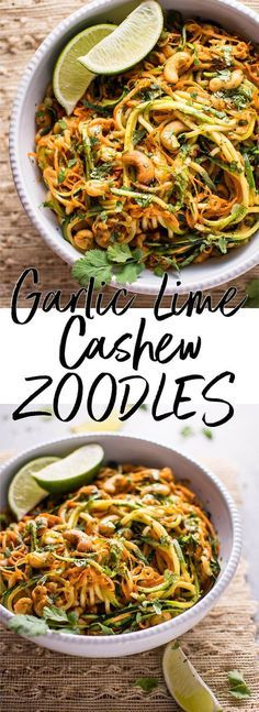 These 15 minute garlic lime cashew zoodles are a super easy and healthy vegan meal option. This is a snap to make, and the sauce is addictive!