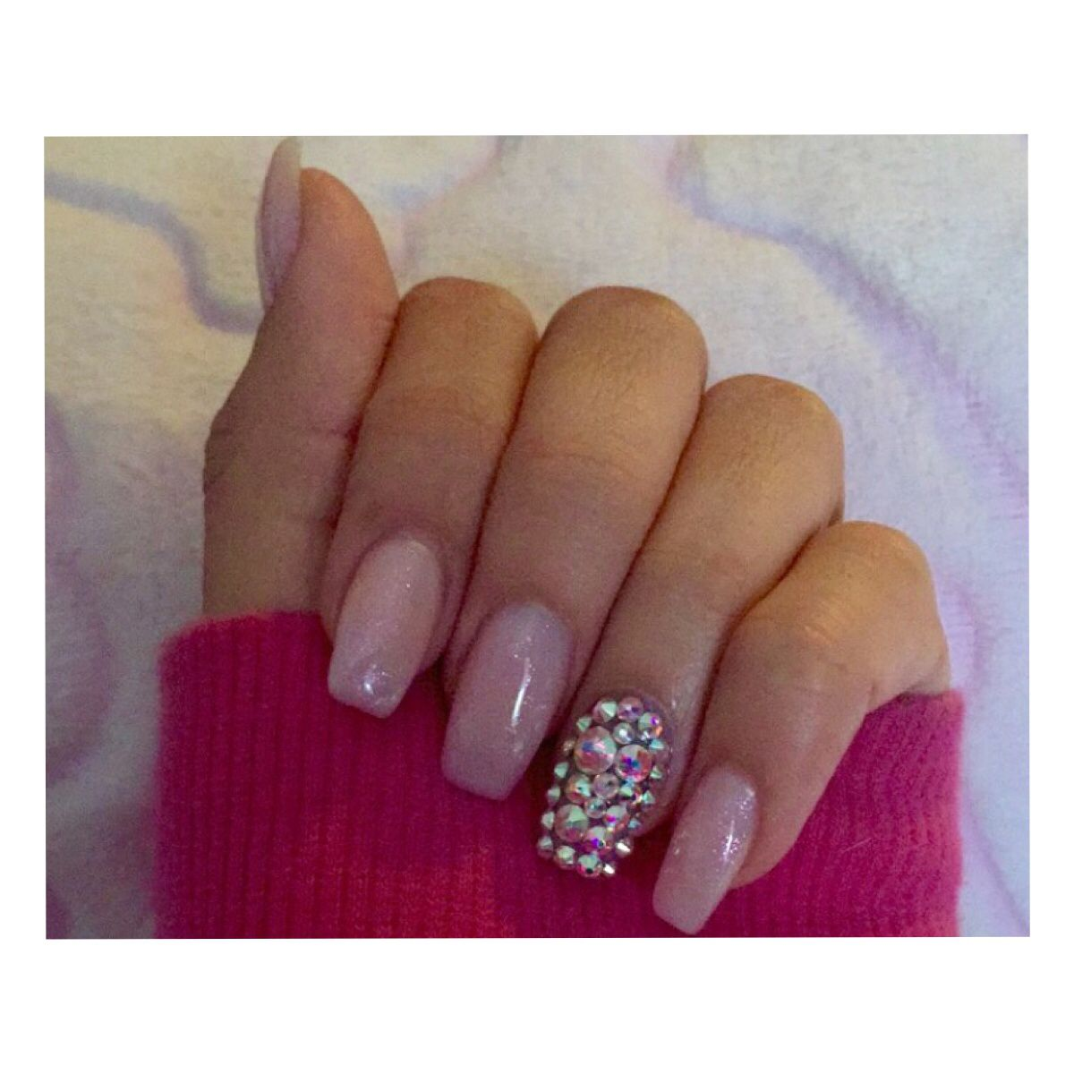 Simple classy glitter coffin nails MINUS the diamonds on the one ...