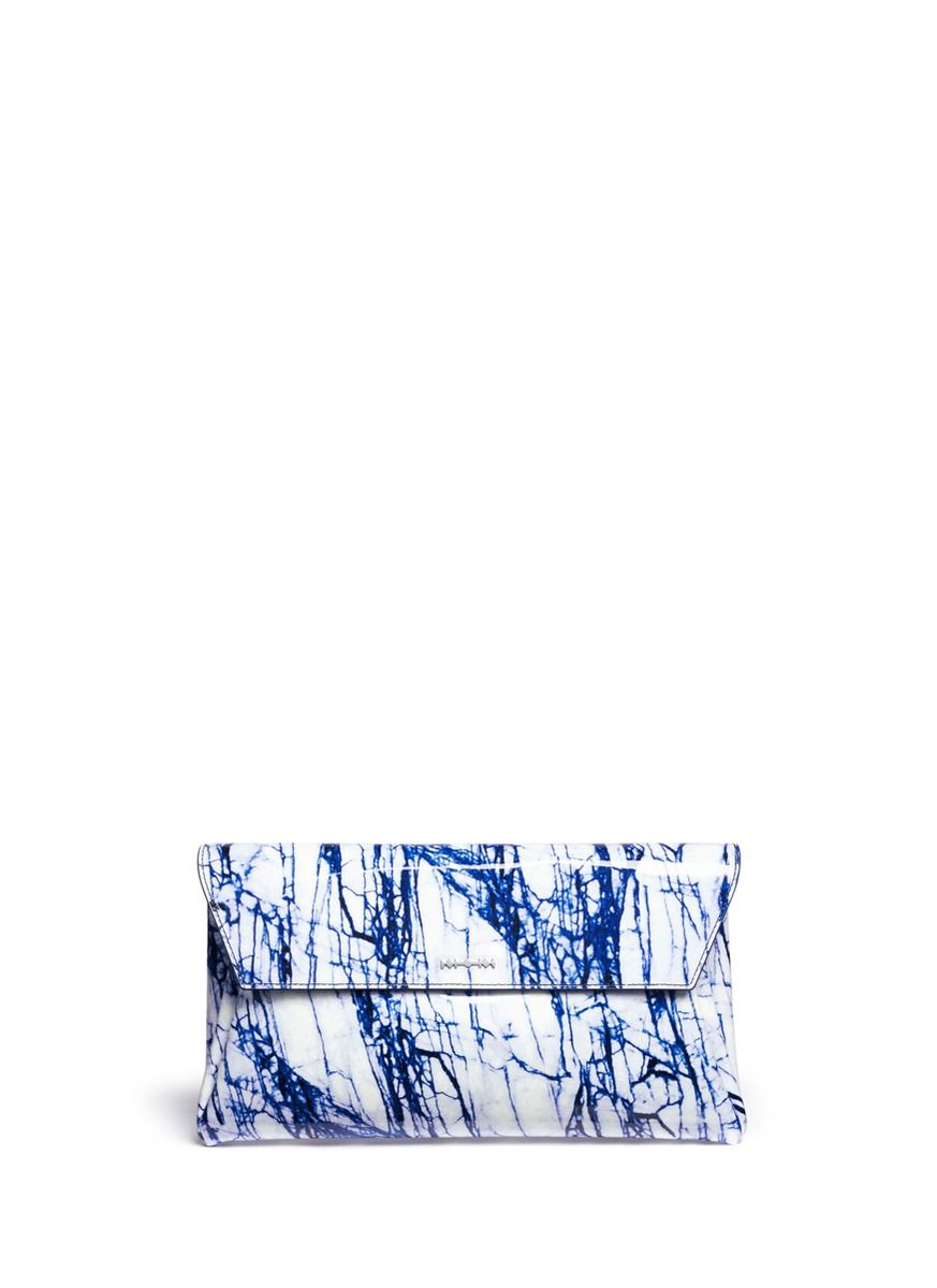 MCQ ALEXANDER MCQUEEN - 'Risk' marble print patent leather clutch | Blue Envelope Clutches | Womenswear | Lane Crawford - Shop Designer Brands Online