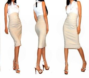 Sexy career khaki long high waist knee pencil skirt s | Pencil ...