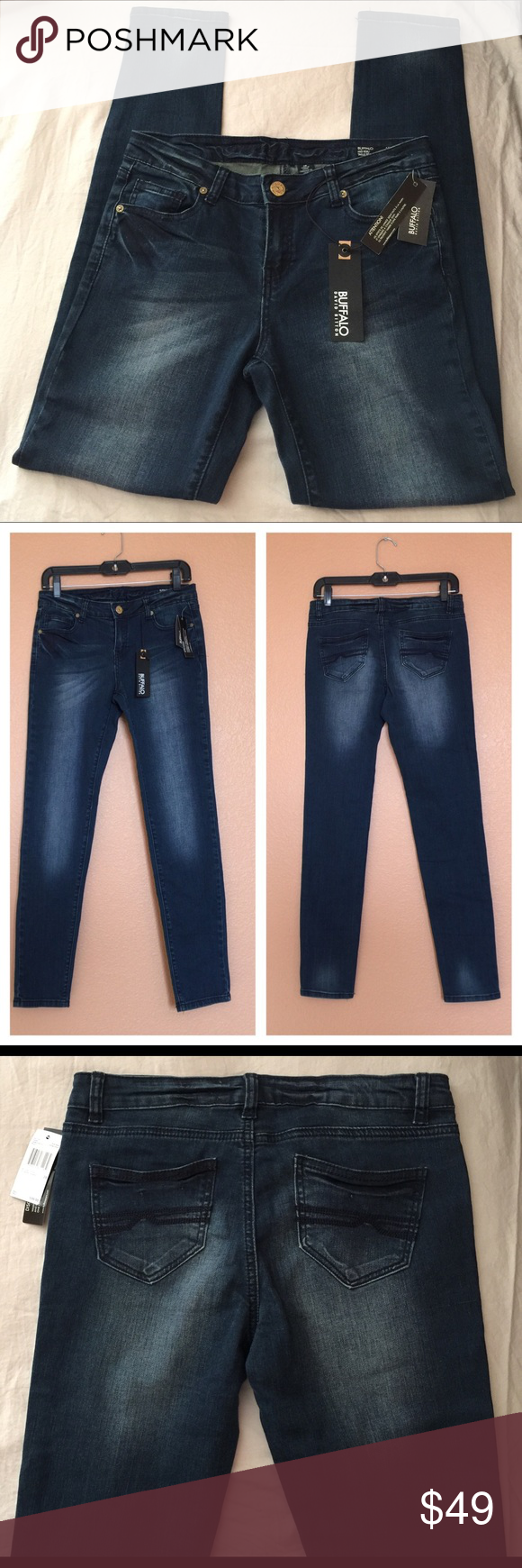 BUFFALO DAVID BITTON Mystery Mid Rise Skinny Siz28 NWT $99. Size 28 Buffalo Mystery Dark Wash Mid Rise Skinny Women's Jeans. 98% Cotton, 2% Spandex. Imported. Buffalo David Bitton Jeans Skinny