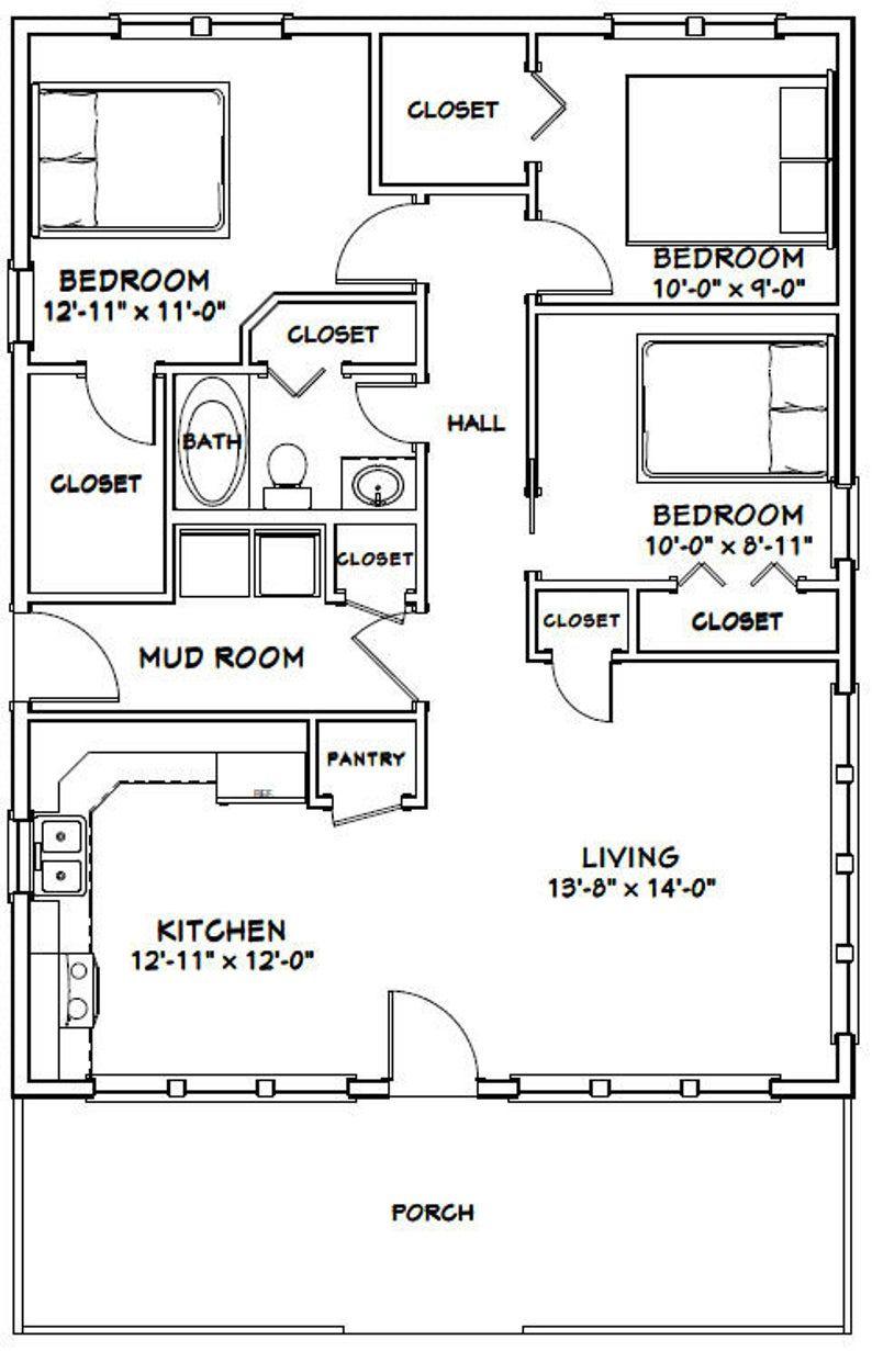28x36 House 3 Bedroom 1 Bath 1008 Sq Ft Pdf Floor Etsy In 2020 House Plans 3 Bedroom Small House Plans Cabin Floor Plans