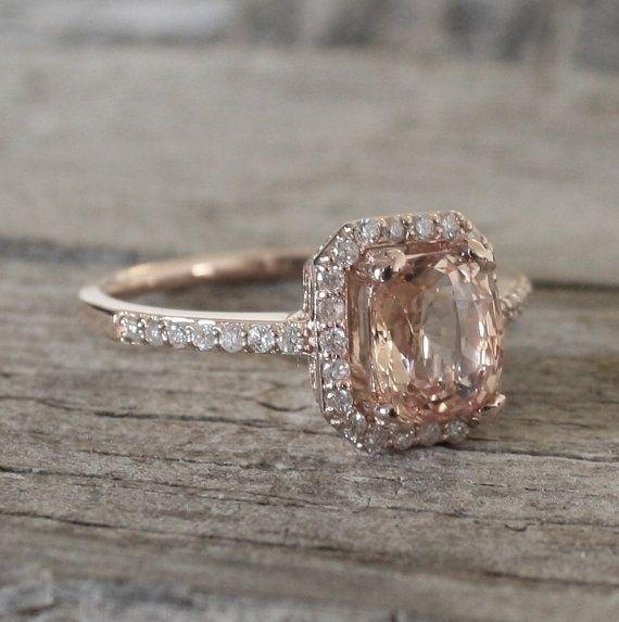 183 Cts Peach Champagne Sapphire Diamond Halo Ring By Studio1040