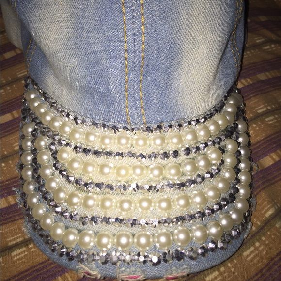 Hat Denim hat with Dimond and pearls No Accessories Hats