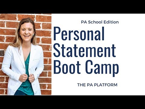 Pa School Personal Statement Boot Camp Youtube In 2020 Life