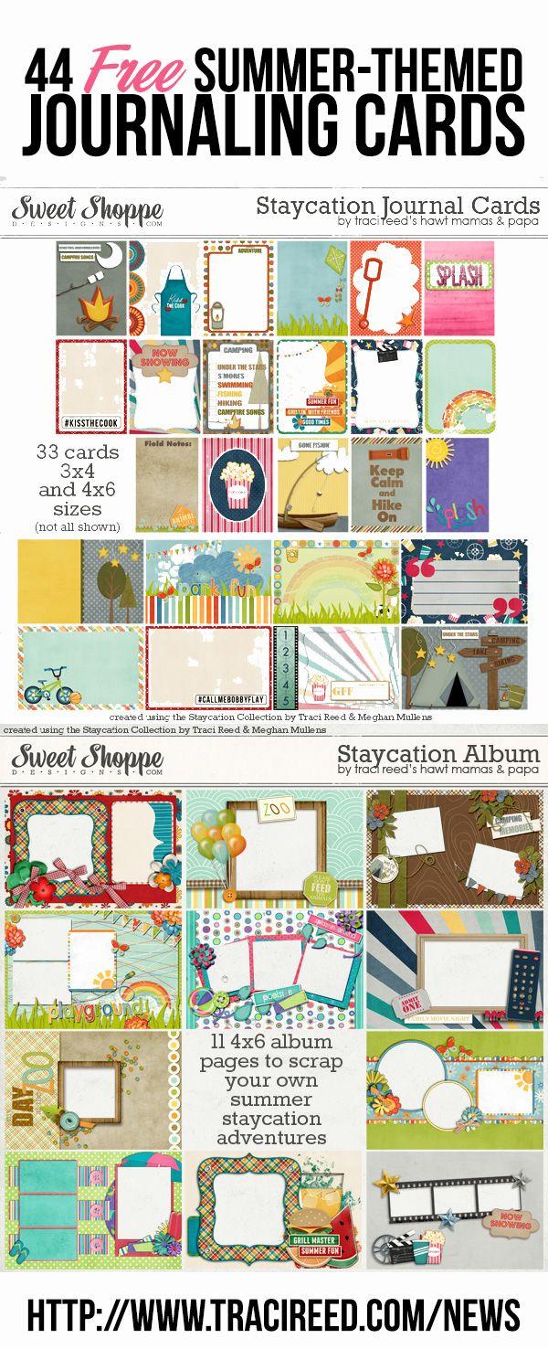 Scrapbook journaling ideas free - 44free Summercards 44 Free Journaling Cards For Your Summer Staycation