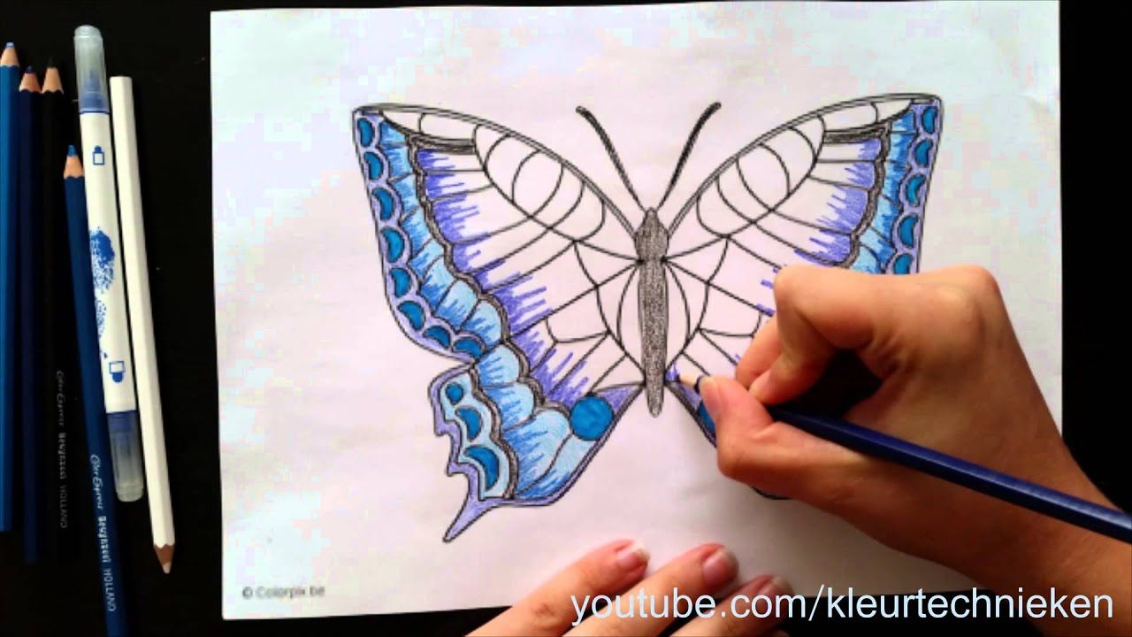 Vlinder Kleuren Youtube Vlinder Tekening Kleurpotloden Kleuren