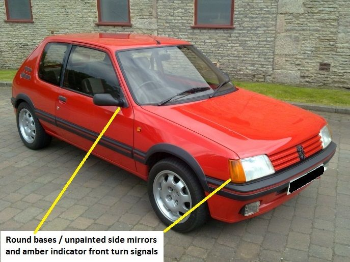 Peugeot 205 GTI 1.9l Turn signals and side mirrors | Peugeot 205 gti ...
