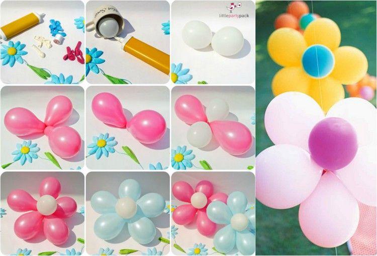 mehrere luftballons zusammenbinden und eine blume machen kindergeburtstag pinterest. Black Bedroom Furniture Sets. Home Design Ideas