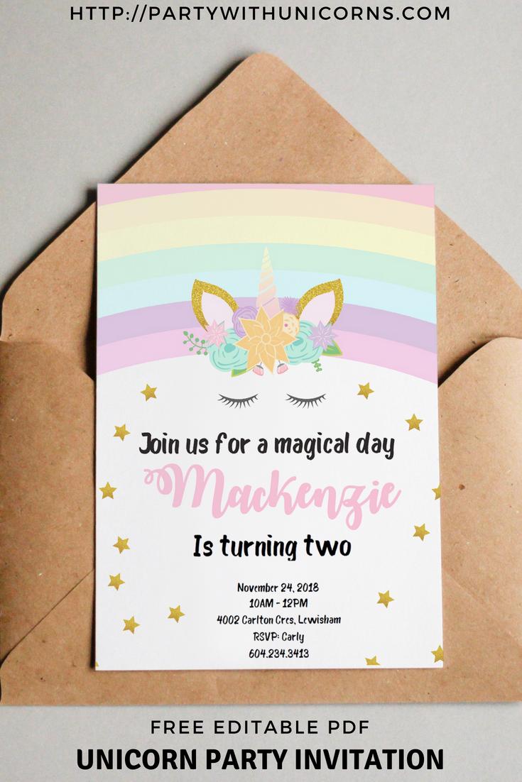 birthday unicorn party invites