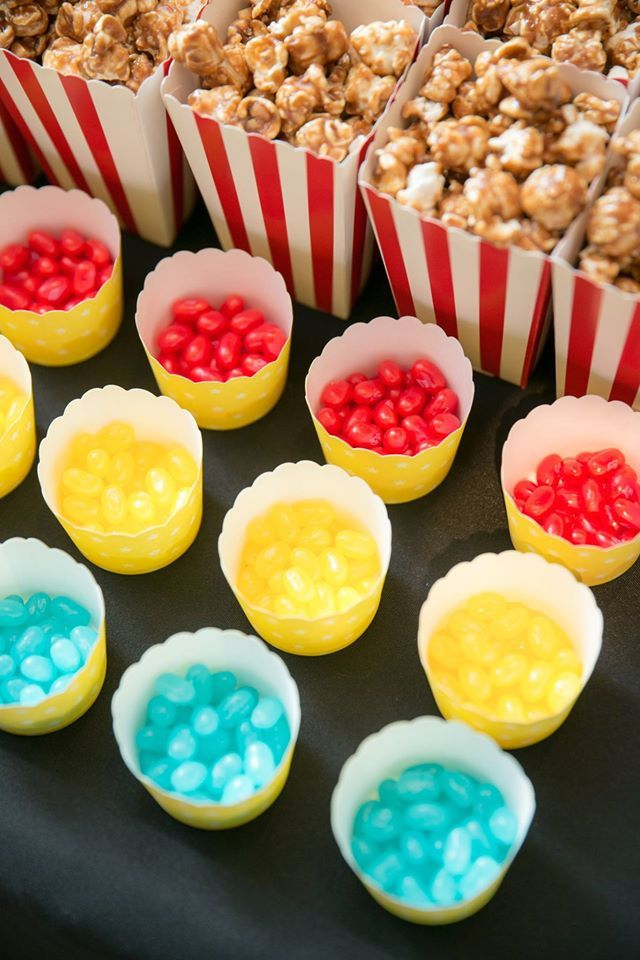 Jellybeans and popcorn candy table childrens superhero themed