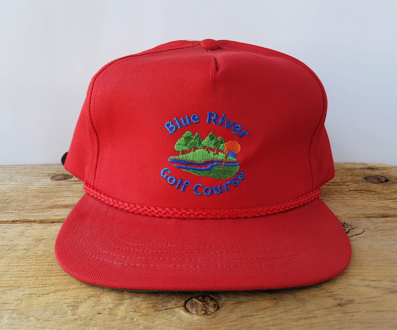 Vintage Blue River Golf Course Strapback Hat Made In Usa Rope Etsy Strapback Hats Blue River Vintage