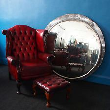 VINTAGE LIGHT OXBLOOD LEATHER CHESTERFIELD WINGBACK CHAIR & FOOTSTOOL