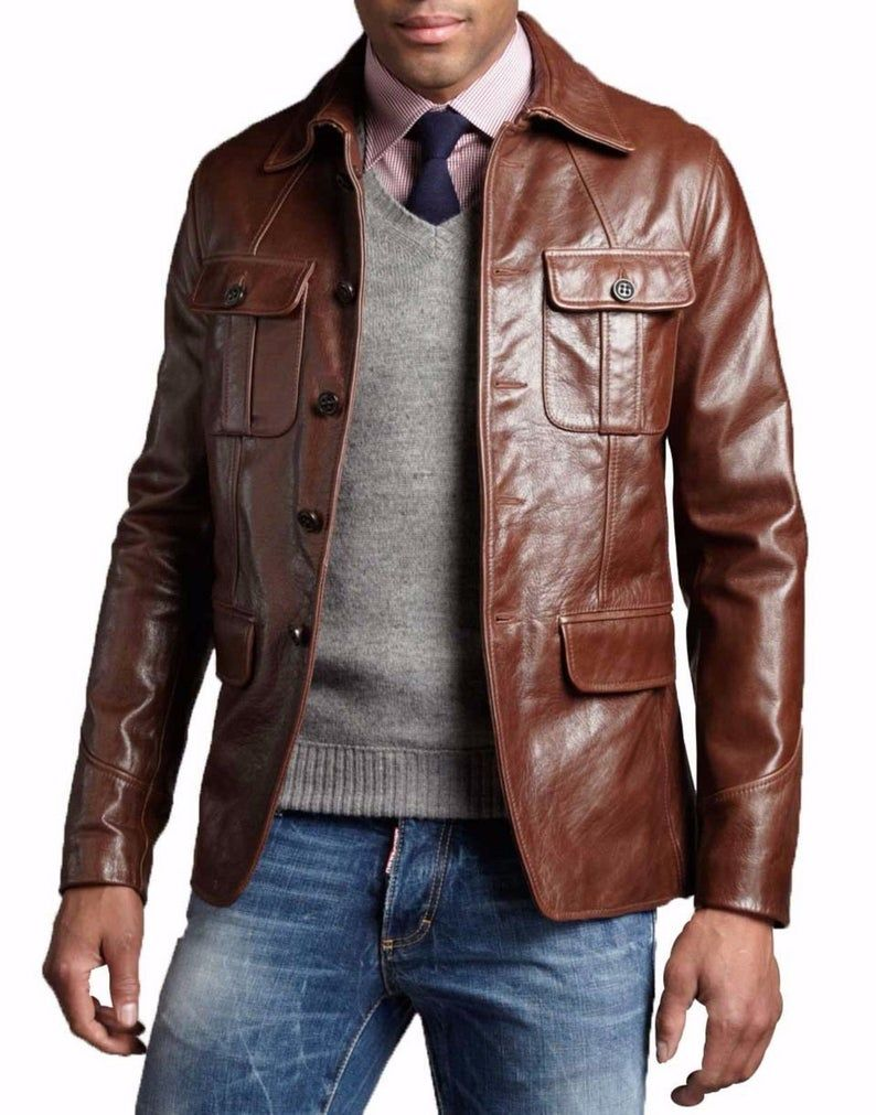Men S Handmade Brown Leather Jacket Men S Genuine Etsy Brown Leather Jacket Men Leather Jacket Men Lambskin Leather Blazer [ 1011 x 794 Pixel ]