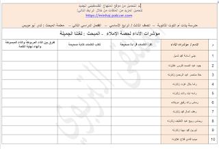 قوائم رصد درس الاملاء مؤشرات الاداء لحصة دراسية لغة عربية للصفين الثالث والرابع Blog Posts Blog Post