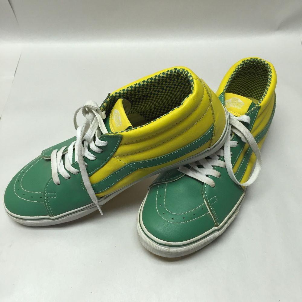 Vintage Vans T375 Men S Us 12 Green Yellow Off The Wall Skate Shoes Vintage Vans Vans Skate Shoes