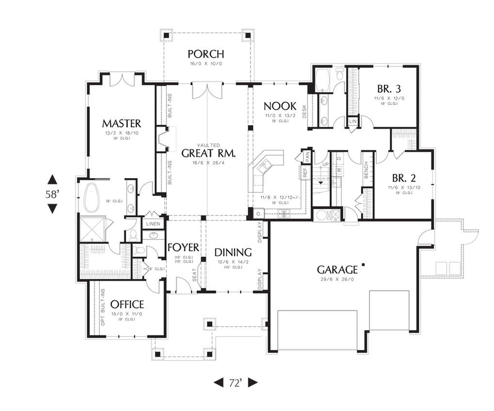 main floor plan of mascord plan 22157aa the ashby lodge with main floor plan of mascord plan 22157aa the ashby lodge with large master suite craftsman style house planscraftsman housesranch floor plansopen