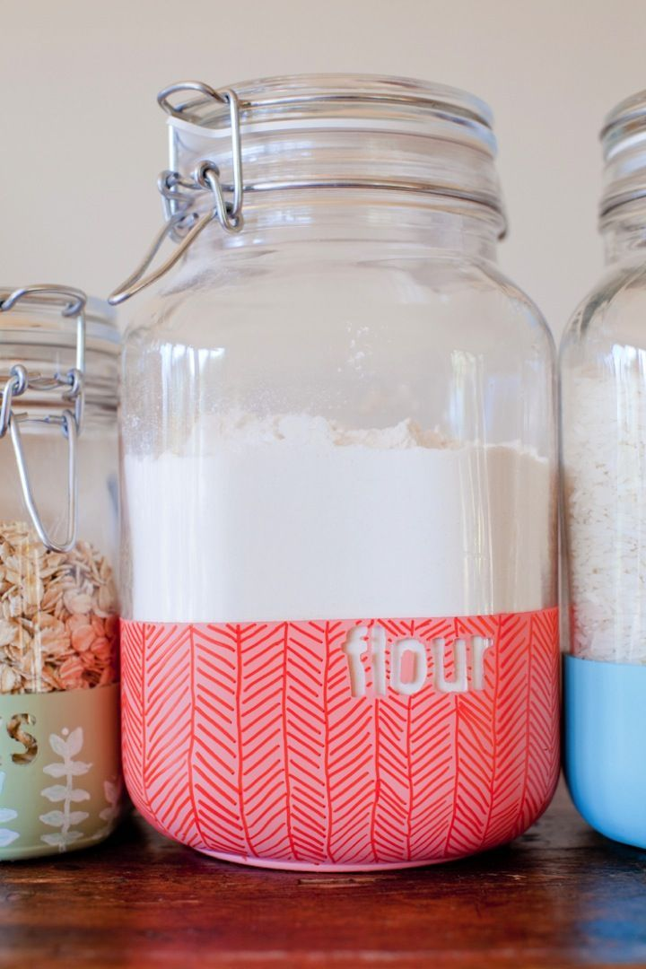 Diy Dipped Kitchen Jars Organization And Cleaning Pinterest
