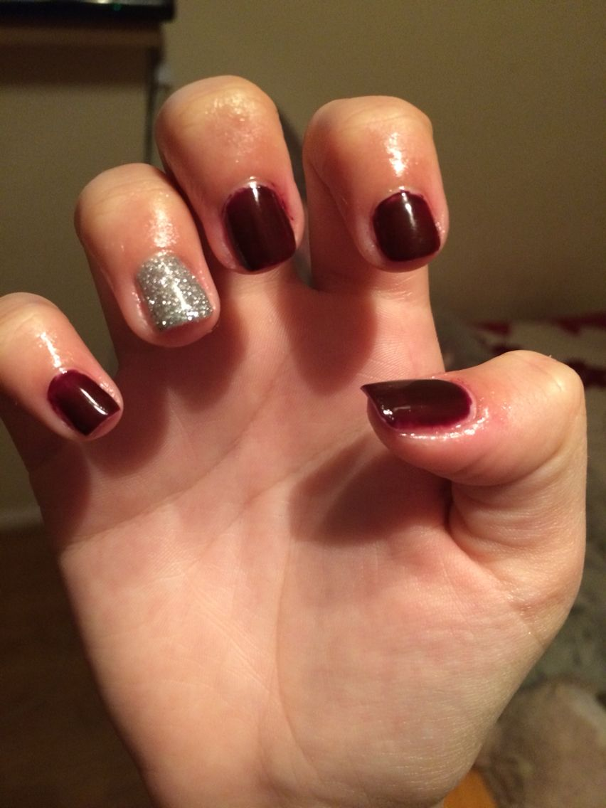 Dark burgundy colour with silver glitter accent nail. Gellux. | Nail ...