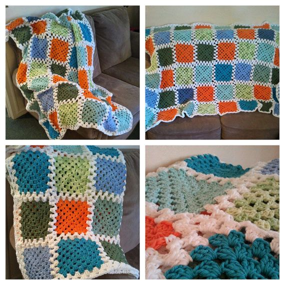 Cotton Granny Square Blanket  made to order by PrintsAndThingsShop