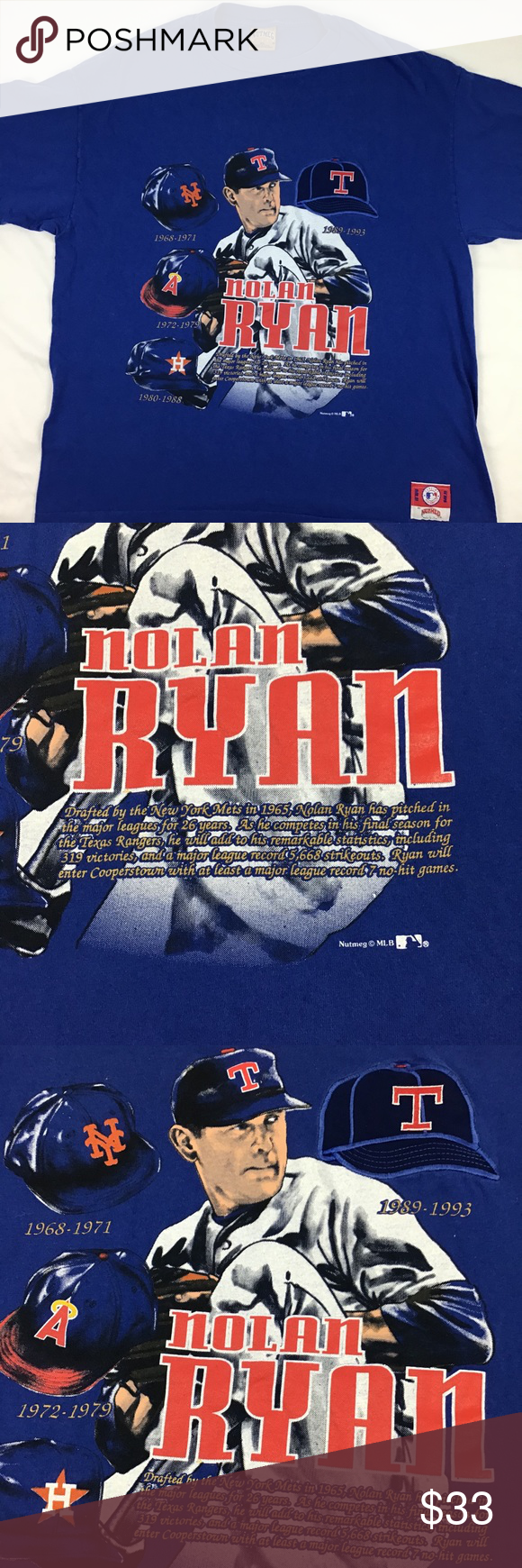Vintage Nolan Ryan Baseball T Nolan Ryan Baseball Fan Gear Mens Baseball Tshirt