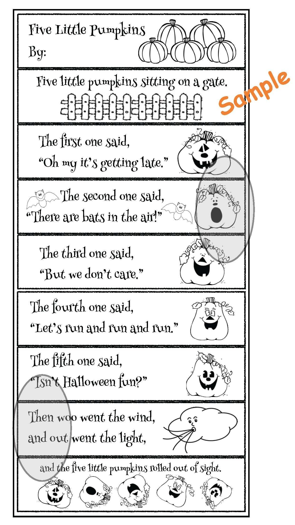 Activities For The 5 Little Pumpkins Poem