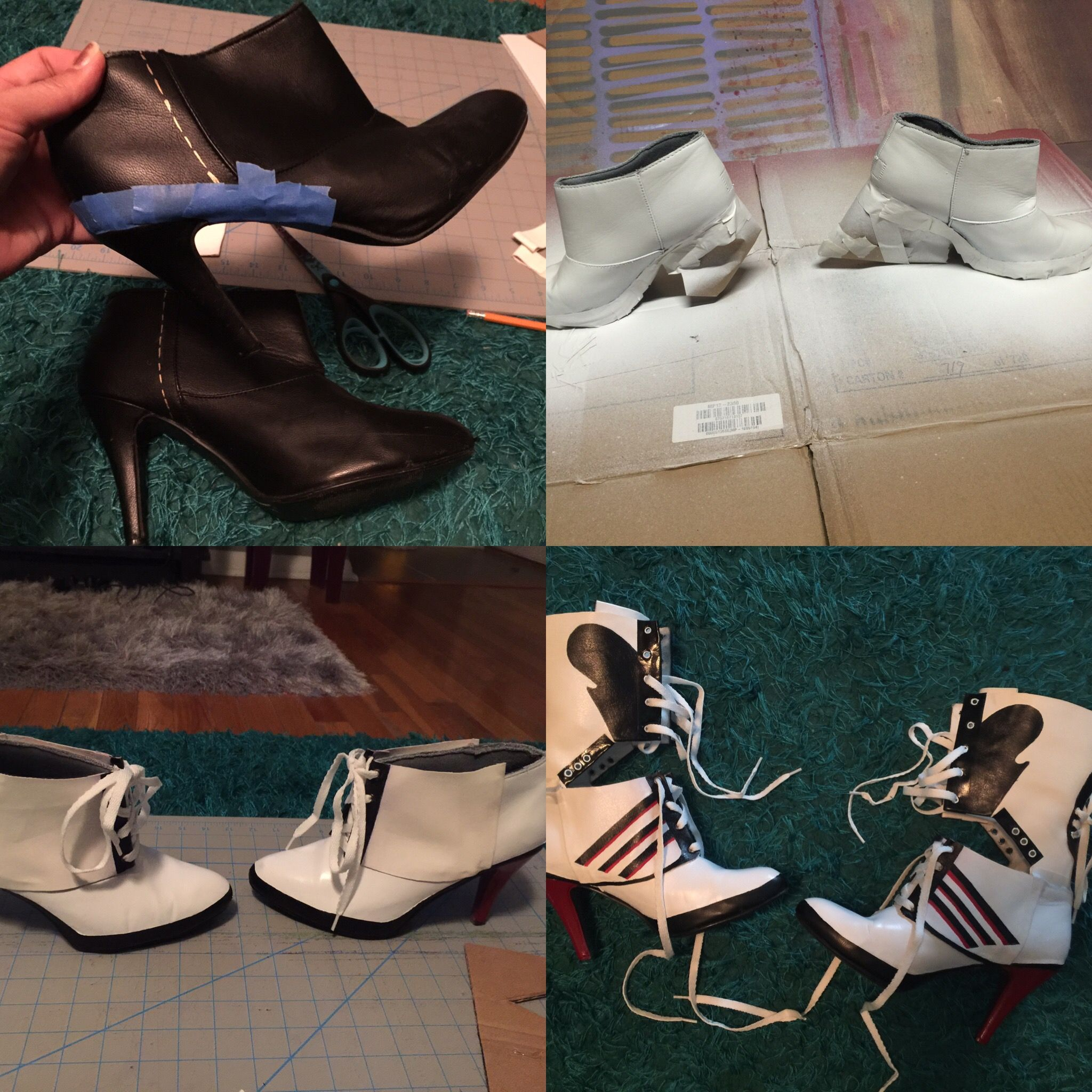 DIY - Harley Quinn boots - High Heeled Adidas - Handmade - Costume/Cosplay