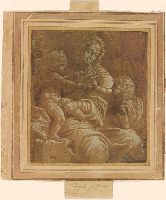 Ascribed to Pellegrino Aretusi | Virgin and Child with the Infant St. John the Baptist | Drawings Online | The Morgan Library & Museum