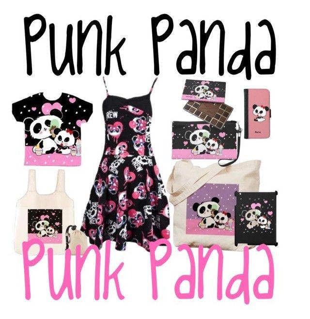 """Punk Panda Pink Black"" by pinkypkawaiigirl ❤ liked on Polyvore"