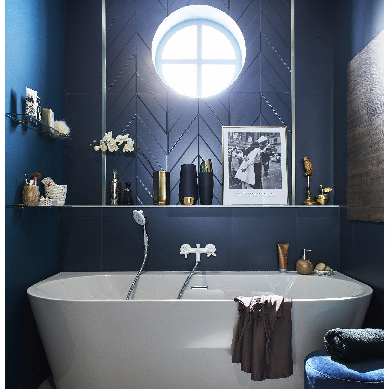 Faïence Mur Bleu Decor Home Chevron Mat L 40 X L 80 Cm