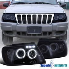 1999 2004 Jeep Grand Cherokee Smoke Halo Projector LED Headlights Glossy  Black Projector Headlights,