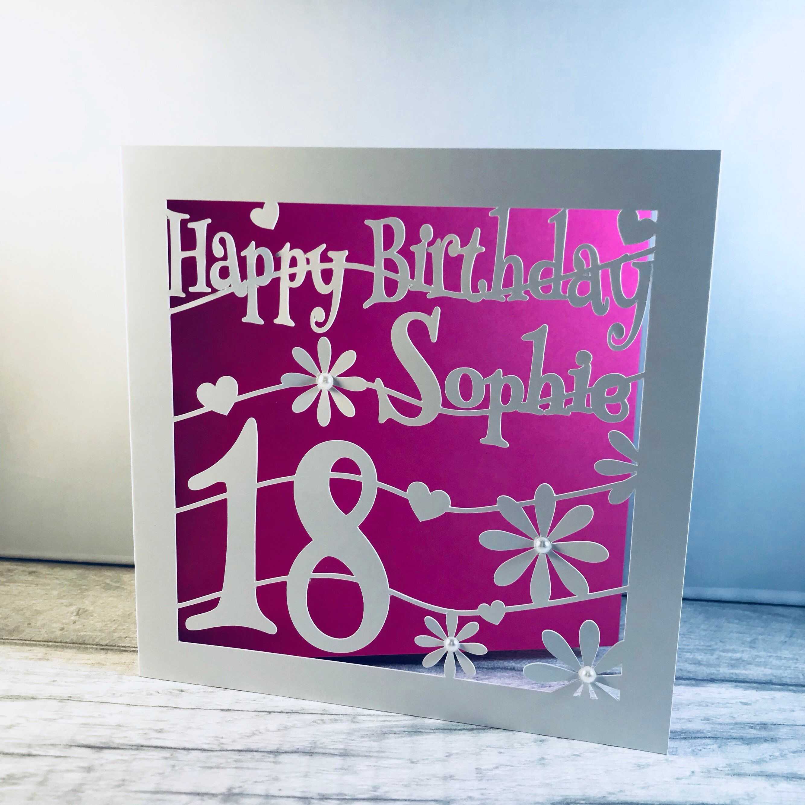 Cute Hearts And Flowers 18th Birthday Card From My Etsy Shop Personalised 18th Birthday Card 18th B 18th Birthday Cards Cricut Birthday Cards Birthday Cards