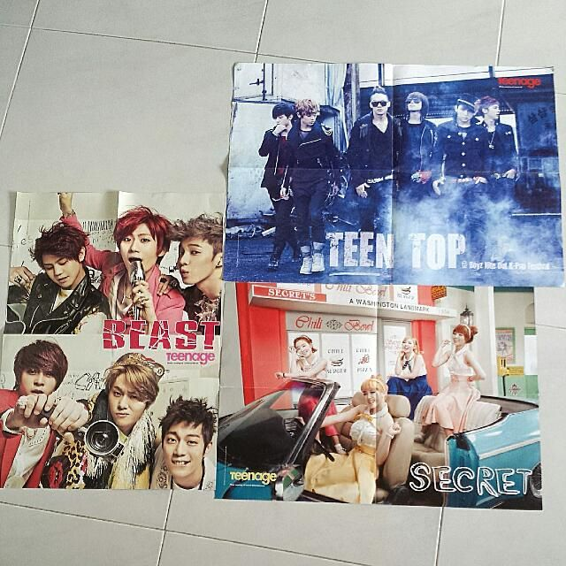 Kpop Group / One Direction Posters  Condition 10/10 Double sided, folded~ $ 2 each! From Teens/Teenage magazines~-  Teen Top / One Direction-B2ST / One Direction-Secret / One Direction