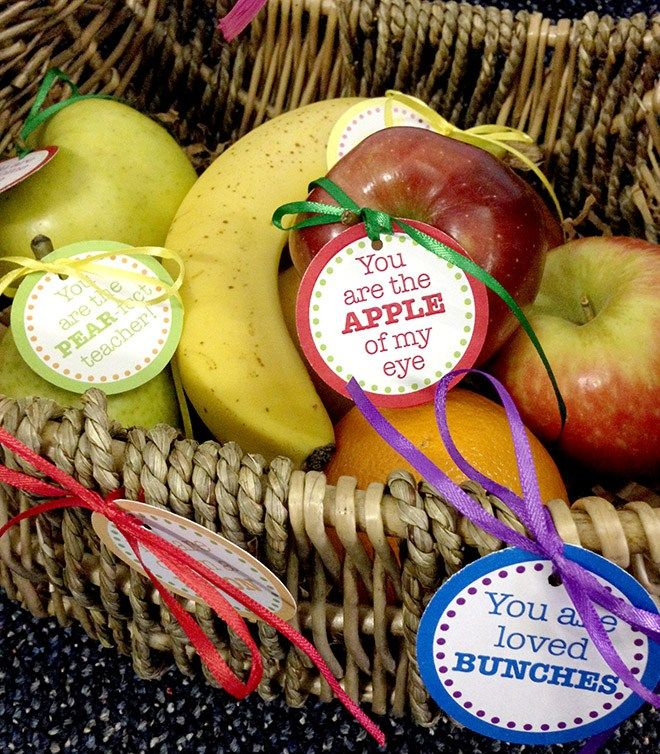 Teacher Appreciation Day Fruit Basket Free Printable Tags Celebration Lane Fruit Basket Gift Fruit Party Fruit