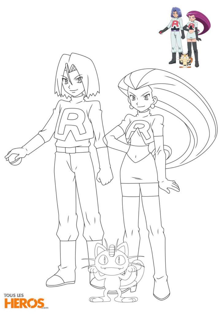 Coloriages De La Team Rocket Avec Jessie James Et Miaouss