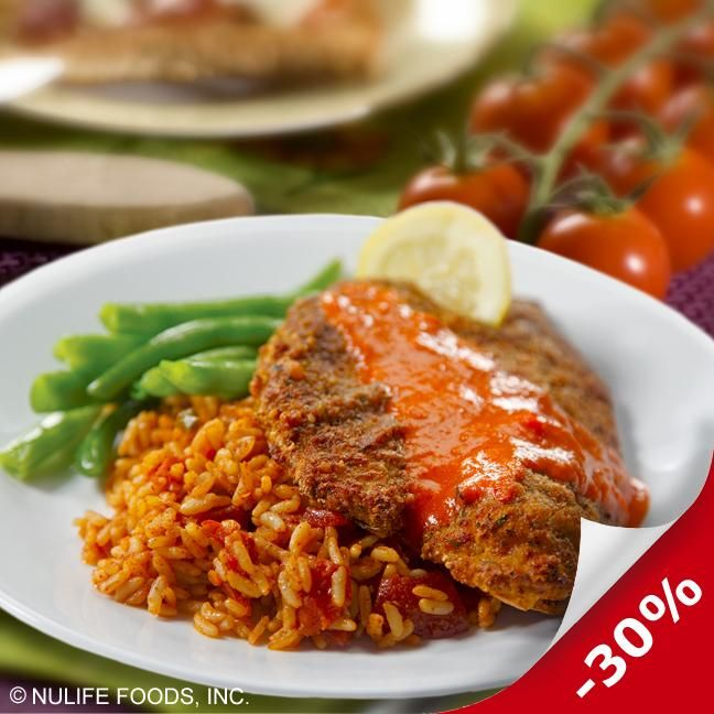 Gluten-Free Cornmeal Breaded Tilapia with Red Pepper Coulis, Spanish Rice, Green Beans | DineWise