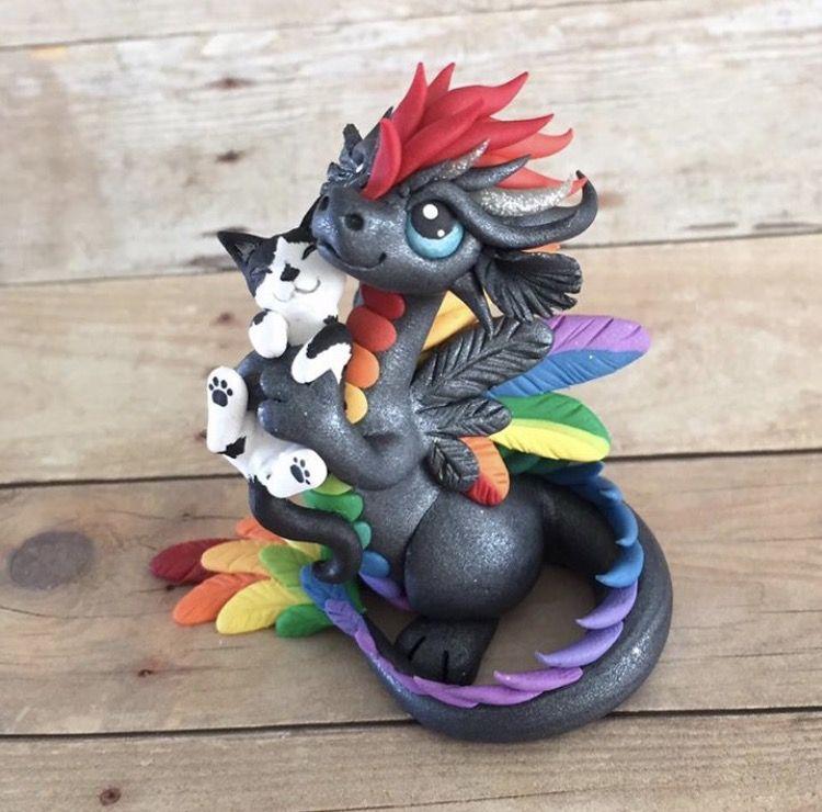 Rainbow Dragon and Kitty Sculpture by Dragonsandbeasties