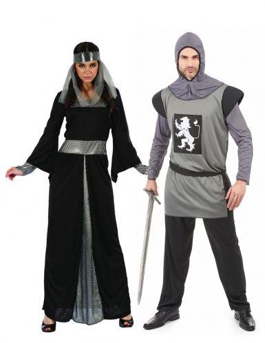 766b7a6bec41 Costume di coppia medievale nero argento: questo travestimento di coppia  rappresenta una dama medievale e