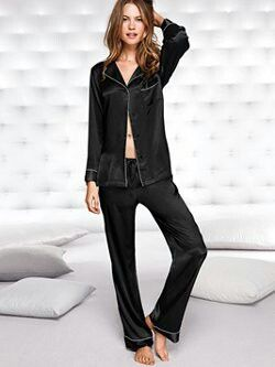 ff2782ef7a Victoria s Secret Black Satin Pajama Set