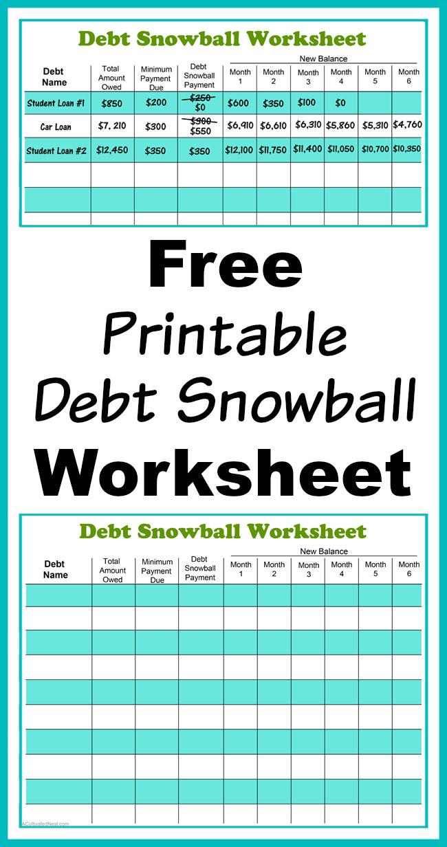 Free Printable Debt Snowball Worksheet  Pay Down Your Debt ...