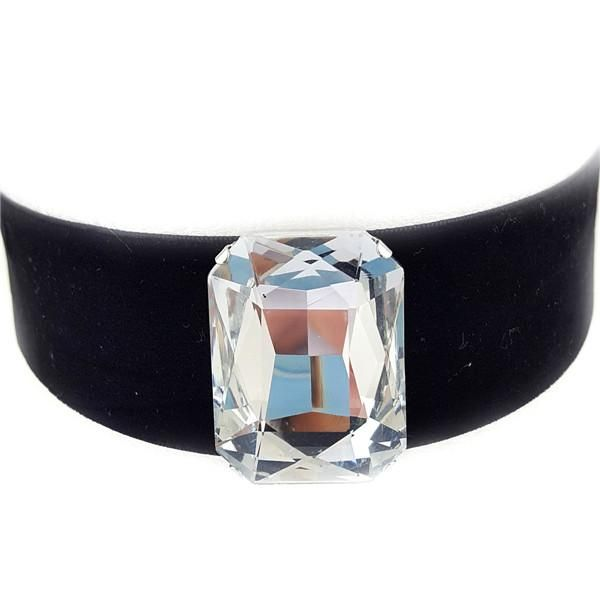 Super Glass Stone Leather Choker
