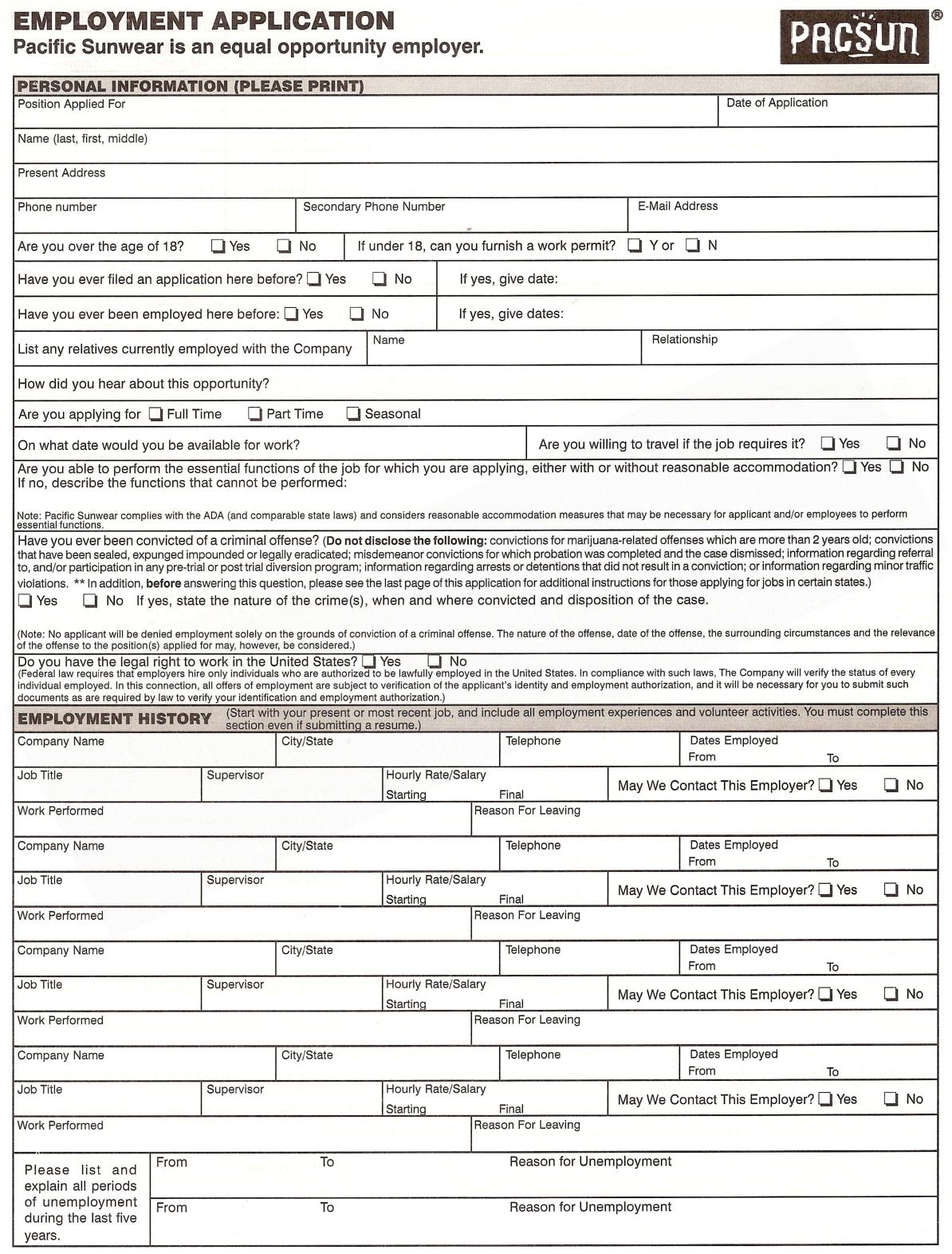 Pacsun Application  Pacsun Employment Application Form Printable