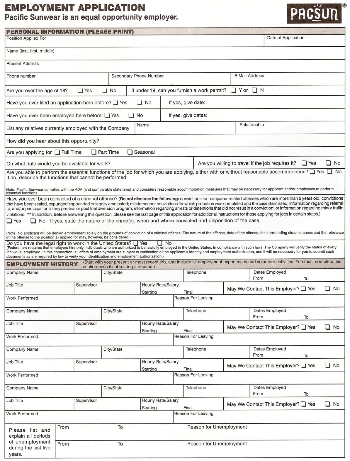 pacsun application Pacsun employment application form
