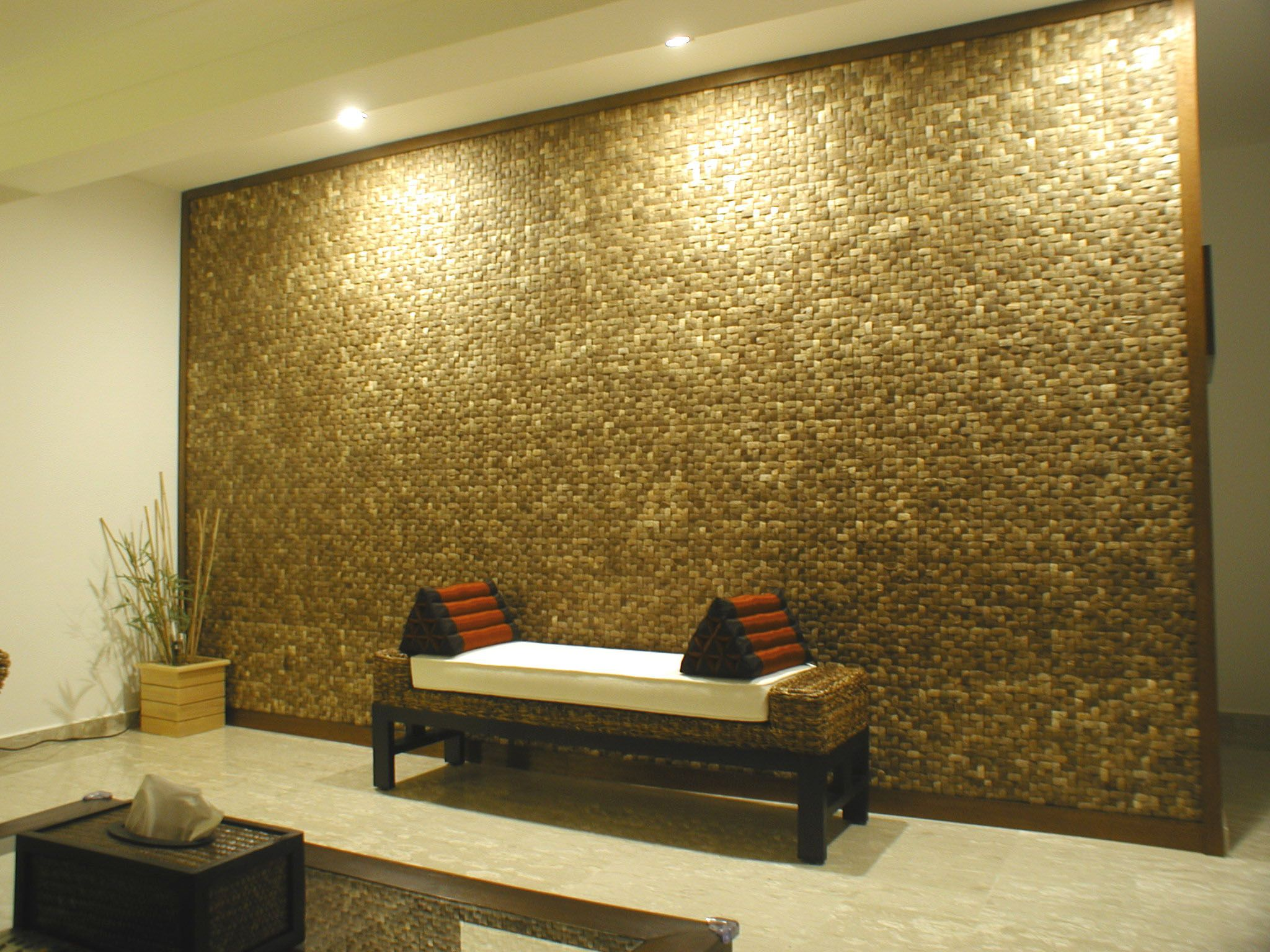 Modem interiors gone tropical easy to install cocohusk - Residential interior wall panel systems ...