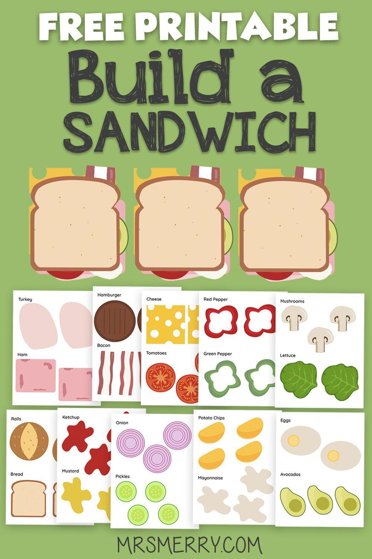 Free Kids Printable Build A Sandwich Template Mrs Merry Printables Kids Printable Activities For Kids Free Kids